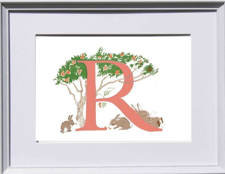 Story Letter Print - Rabbits resting under the rowan tree